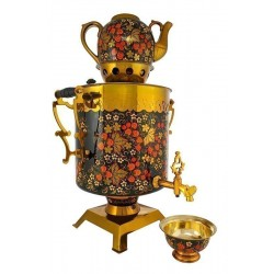 Electric samovar 25 liters «Butlery» in a set with painting «Classic khokhloma» (with automatic power off)