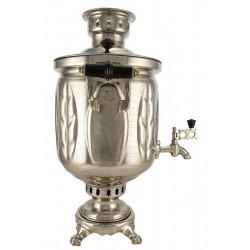 Charcoal-burning samovar 5 liters «Leaf», nickel