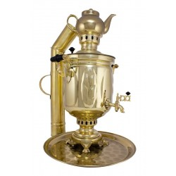 Charcoal-burning samovar 5 liters «Oak grove» in a set «Present»