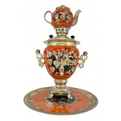 Electric samovar 3 liters «Acorn» in a set with painting «Woodgrouses»