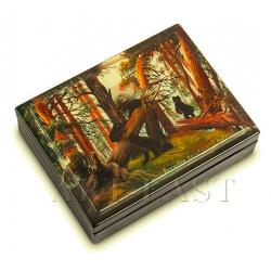 """Russian Painted Box Fedoskino """"Morning in a Pine Forest"""" isp. Lavrov"""