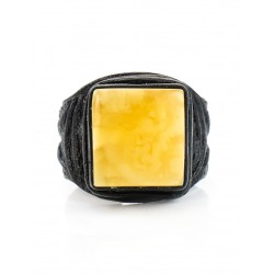 Large-ring seal made of natural leather with a square insert bright amber honey