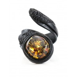Ring-snake made of leather with an oval inset sparkling cognac amber