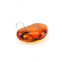 "Pendant made of transparent Baltic amber ""Heart"" dark cognac-colored"