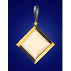 "Geometric pendant of ivory in gilded silver ""Era"""