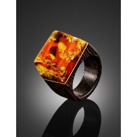 "Unusual ring in eco-style wood with natural sparkling amber ""Indonesia"""
