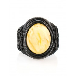 The large ring-ring made of natural leather with oval insert landscape amber