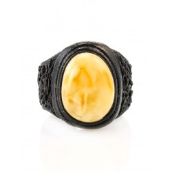 Stylish ring-ring made of natural leather with oval insert from Baltic amber