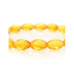 "Bright sparkling bracelet made of natural Baltic amber lemon ""Olive Diamond"""