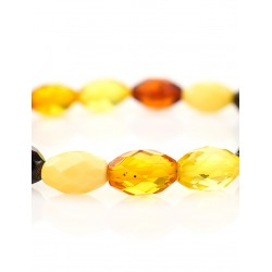 "Bright contrast bracelet made of natural Baltic amber four colors ""Olive Diamond colorful"""