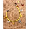 "Bright summer yellow bracelet with natural amber ""Alice in Wonderland"""