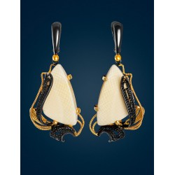 "Gorgeous filigree earrings with mammoth bones, ""Era"""