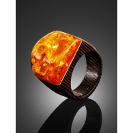 "The original ring of wood with a natural iridescent amber ""Indonesia"""