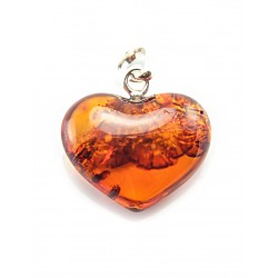 "Pendant made of natural amber with a beautiful sparkling texture tea-colored ""Heart"""