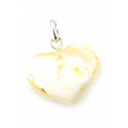 Pendant heart with natural milk-white amber with a beautiful scenic texture