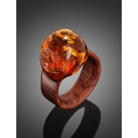 """The original ring of wood with a natural iridescent amber """"Indonesia"""""""
