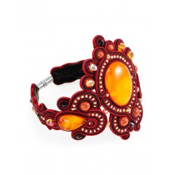 """Elegant braided bracelet decorated with natural solid amber crystals and """"India"""""""