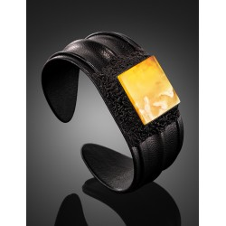 """Bracelet in the style of eco-leather and natural Baltic amber with a unique landscape texture """"Nefertiti"""""""
