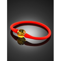 """Bright red silicone bracelet with amber bead-spacer """"Hawaii"""""""