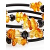 "Bracelet for children on a string with natural amber and pendants butterfly ""Oklahoma"""