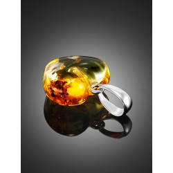 Miniature pendant in the form of hearts from a natural sparkling lemon-colored amber