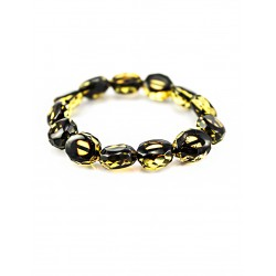"Amber bracelet ""Olive, diamond facet"""