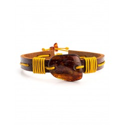 """Bright Bracelet """"Copacabana"""" brown leather with a large cognac amber"""