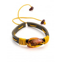 """Bracelet of leather in contrasting colors with natural solid amber """"Copacabana"""""""