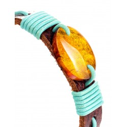 """Bright bracelet made of genuine leather with a solid piece of lemon amber """"Copacabana"""""""