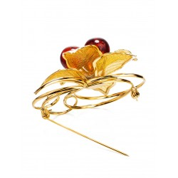 Brooch Beoluna, decorated with natural sparkling amber cherry color