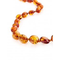 "Children's necklaces ""Olives"" natural amber cognac color for kids"