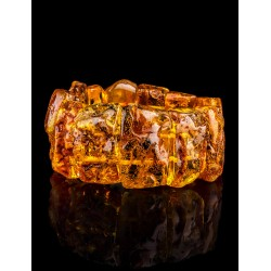 """Bracelet made of natural amber piece with the natural texture of """"Pompeii"""""""