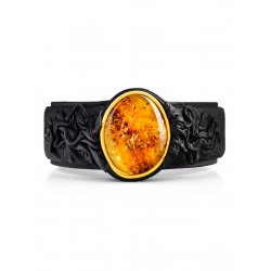 """Black leather bracelet """"Nefertiti"""", decorated with an insert made of sparkling amber"""