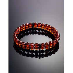 "Double-row bracelet made of natural solid amber ""Caramel diamond wintergreen"""