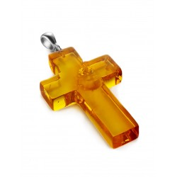 A large crucifix from natural whole cognac amber