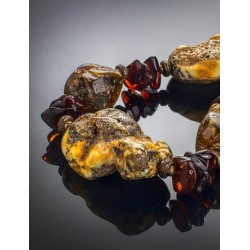 "Beads from natural Baltic amber with the natural texture of ""Indonesia"""