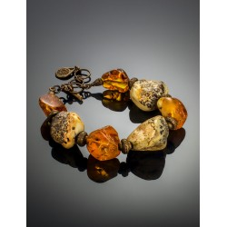 """In ethnic style bracelet made of natural Baltic amber """"Indonesia"""""""