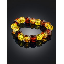 "Spectacular elegant bracelet made of natural amber ""Crystal spotted a large"""