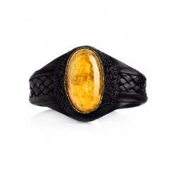 """Bracelet """"Nefertiti"""" in black leather, decorated with a beautiful textured amber"""