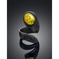 "The bright ring and different from natural leather with succinic insert ""Snake"""
