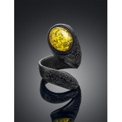 """The bright ring and different from natural leather with succinic insert """"Snake"""""""