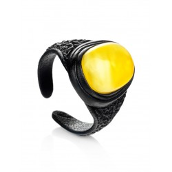 """Ring-ring leather inset with oval honey-amber """"Nefertiti"""""""