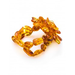 """Bracelet made of natural red-hot piece of amber """"Chrysanthemum"""""""