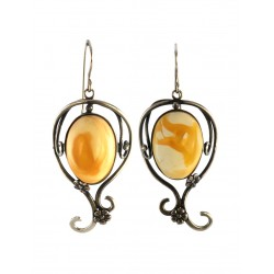 "Antique earrings ""Vintage"" from natural amber with the texture of landscape"