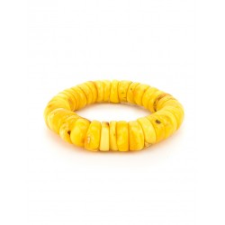 "Large bracelet ""cylinder"" of natural Baltic amber honey with the aging effect"
