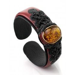 "Maroon Bracelet made of genuine leather and Baltic amber ""Nefertiti"""