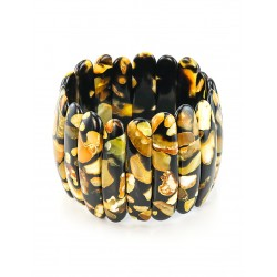 """Bracelet """"Dalmatian"""" black with inserts from whole pieces of amber"""