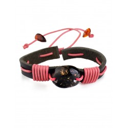 """Bracelet black leather cord entwined with pink and decorated with amber """"Copacabana"""""""