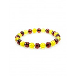 Bracelet two-colored amber beads, balls
