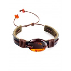 """Bracelet leather black with a solid cognac amber """"Copacabana"""""""